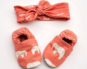 Coral Elephant Baby Girl Knotted Headband and Matching Crib Shoes 0 3 6 12 18 month Coral Pink Elephant Organic Handmade Baby Shoes