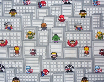 Marvel Kawaii Fabric, Marvel Heroes , SuperHeroes Tetris , Hulk Spiderman Capt America Thor, Super Heroes to the Rescue, By theYard