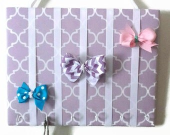 Hair Bow Holder Small-Medium-Large Light Purple Quatrefoil Padded Hair Bow Organizer with Hooks for Headbands