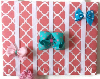 Hair Bow Holder Small-Medium-Large Coral Pink/White Quatrefoil Padded Hair Bow Organizer with Hooks for Headbands
