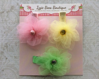 Set Pink Lime Yellow Tulle Flower Alligator Clips