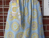 Blue, Gray and Yellow Pillowcase Dress, Pretty Medallion Print Girls Dress, Cute Toddler Dress, Size 2T to 7