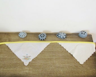 Shabby Chic Bunting Vintage Napkins Linen Upcycled Rustic Cottage Wall Hangings Wedding Bright Yellow Floral Domum Vindemia Sunshine For Her