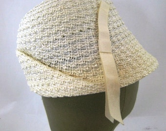 60s Ivory Cloche  Cream Woven Hat Cream Summer Hat Cellophane Straw Hat Cream Cloche 60s Cloche Ivory Woven Hat  Off White Spring Hat