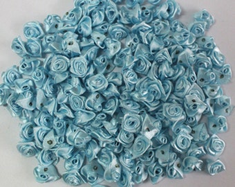 Light Blue Satin Ribbon Roses-12mm-25 PCS