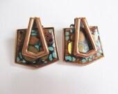 Matisse copper enamel earrings aqua