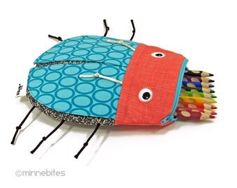 Kids Bug Pencil Bag - Turquoise Beetle Toy Bag - School Pouch - Art Pencil Case - Kids Desk Accessory - School Supplies - Ready to Ship