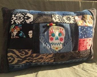 Patchwork - Day of Dead Pillow - Dia de los muertos - Custom - Decorative Pillow - Upcycled Denim