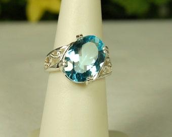 Blue Topaz Ring, Size 6, Aqua Blue, 6 Cts, December Birthstone, Sterling Siver, Large Blue Topaz, Big Blue Solitaire, Light Blue Gemstone