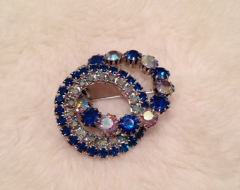 Vintage Double Ring Blue Rhinestone Brooch