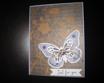 Purple Butterfly Just For You Card