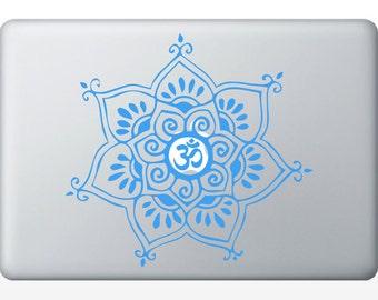 Om Delicate Flower laptop DECAL- macbook iPad computer- vinyl sticker - Sacred Geometry - Rainbow Holographic