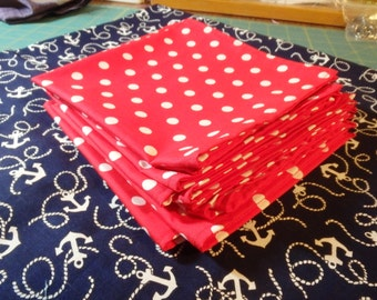 Nautical Tablecloth, Anchor Tablecloth, Red Polka Dot Cocktail Napkins, Red White & Blue Party Set, Beach Party, Lunchbox Napkins, Anchors