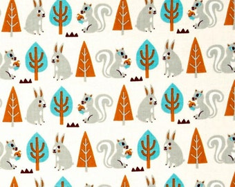 Festive FOREST by Camelot- Rabbit and Squarrel-in Cream-Cotton fabric-1 yard