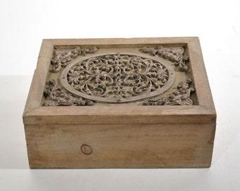 Vintage Carved Wood Box Ornate Design