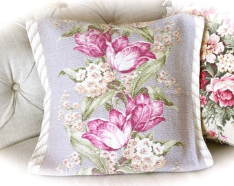 Custom Vintage 1940s Periwinkle and Raspberry Violet Floral Tulip Barkcloth Decorative Throw Pillow