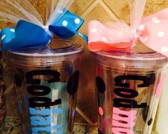 Personalized GODPARENTS Tumblers - Gender Reveal - Baby Announcement - Reveal Party - Gender Reveal Gift - New Baby