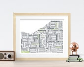 Cleveland Typography Map 8x10 Print