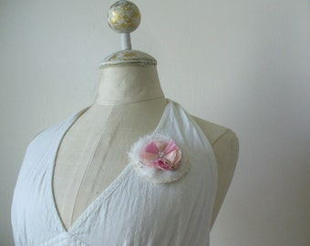 Round Elegant Shabby Tattered Inspired Corsage Brooch Pin by WeeWoollyBurros