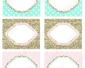 One First Birthday girl coral pink  mint gold PRINTABLE Food Labels  chevron polka dot glitter 1st birthday DIY Instant Download - 1031
