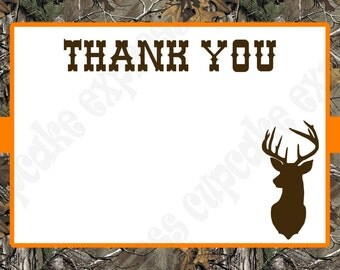 Instant Download Camo Boy Hunting Birthday Party  PRINTABLE Blank Thank You Card 5x7  camouflage orange realtree