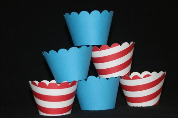 Dr. Seuss CUPCAKE WRAPPERS holder  Wraps red stripe blue boy first birthday party carnival party decorations
