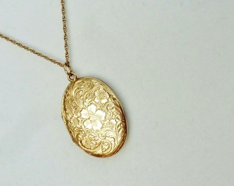 Vintage Large Locket GF Flower Oval with Gold Filled Chain Necklace JMF JM Fischer