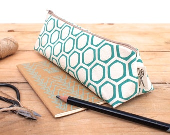 Honeycomb Print Pencil Case