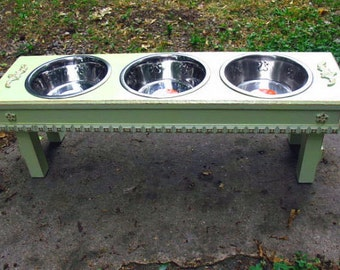 Raised Dog Bowl Pet Feeder Cottage Chic Lemon mint Green, Pet Feeding Station, Copper Underlay 3 Two Quart Stainless Bowls,  Made to Order