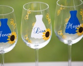 Fall wedding Sunflower wine glasses or acrylic tumbler, Bridesmaid gift,  Autumn theme 1 glass. Includes name and title on fall glasses
