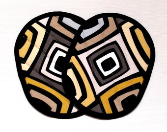 Hot Pads Pot Holders Gray Black and Gold Modern--Ready to Ship