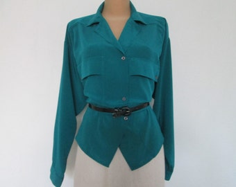 Womens Blouse / Blouse Vintage / Turquoise / Green / Buttoned / Silky Poly / Size EUR40 / 42 / UK12 / 14