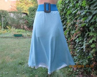 Silk Skirt Vintage / Blue Silk Skirt / Elastic Waist / Size EUR36 / 38 / UK8 / 10 / Double Layer Skirt with Lining