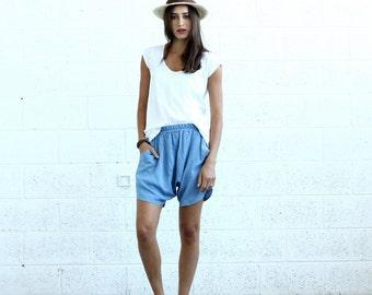 Drop Crotch Shorts- Light blue- denim shorts.