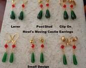 Howl's Moving Castle Earrings in Gold Plate