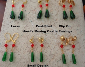 Howl's Moving Castle Earrings in Gold Plate