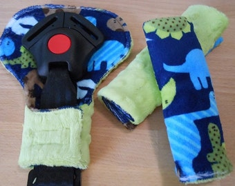 Double Minky Dinosaur Midnight Infant/Toddler Reversible Car Seat Strap And Belly Buckle Cover