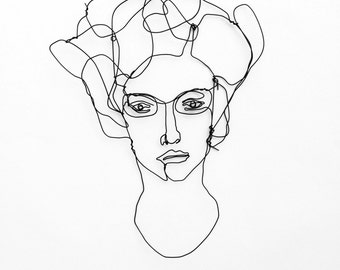 Wire wall Art: Unusual portrait of woman with glasses - Face sculpture - Figurative art
