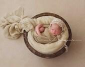 Newborn Chiffon Bonnet.  Baby Vintage Style Chiffon Bonnet. Newborn Latte Chiffon Bonnet. Newborn Photography Prop. UK SELLER