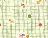 Tiger Lily Kittens and Yarn in Green, Heather Ross, Windham Fabrics, 100% Cotton Fabric, 40929-2