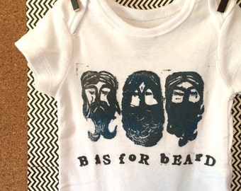 "0/3 mo Onesie ""Beard"" Hand Stamped"