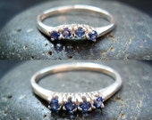 Something Blue - Genuine Sapphire 4 Stone Wedding Band - MADE TO ORDER