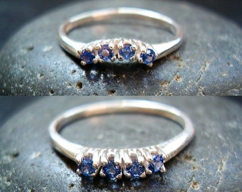 Something Blue - Genuine Sapphire 4 Stone Curved or Straight, 5 Stone Chevron Ring - Wedding Band - 925 Sterling Silver Only -MADE TO ORDER