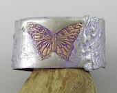 Small Copper Cuff W/ Stamped Solder, Butterfly Cuff Bracelet, Butterfly Jewelry, Nature Cuff Copper Bracelet, Small Cuff Flooded Solder Cuff