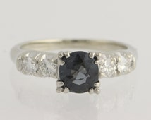 Engagement Ring Spinel and Diamond - 18k White Gold & Palladium 1.42ctw Unique Engagement Ring L3769 R