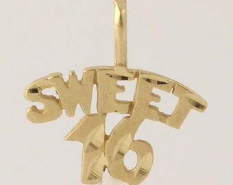 Sweet 16 Pendant - Solid 14k Yellow Gold Milestone Birthday Gift Women's r8820