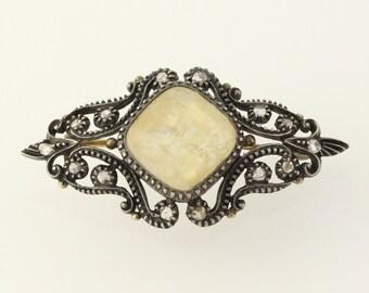 Vintage Georgian Brooch Pin - Sterling Silver & 18k Gold Diamond Quartz c.1840's Y3499