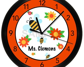"Bumble Bees and Flowers Classroom Wall Clock 10"" Diameter"