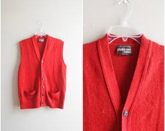 Vintage men's wool vest / rust orange red button down sweater vest