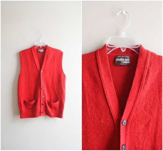 Vintage men's wool vest / rust orange red button down
